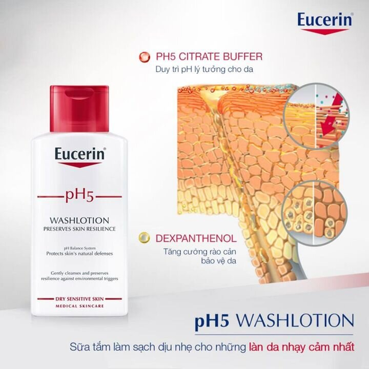 sữa tắm trắng da Eucerin