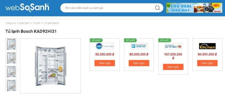 Giá tủ lạnh wifi Bosch