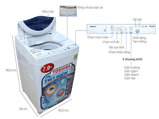 Đánh giá máy giặt Toshiba 7kg loại nào tốt, giá bao nhiêu?