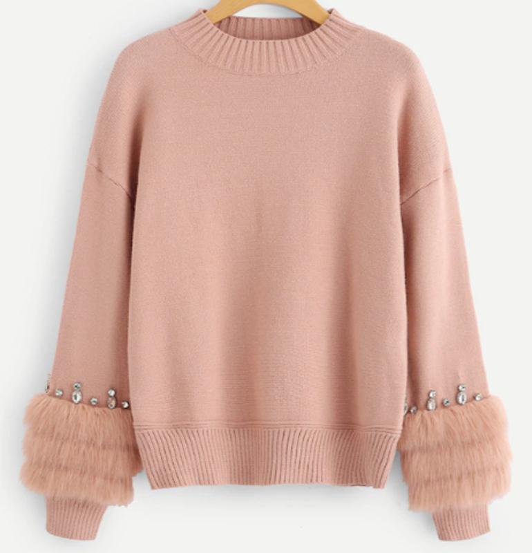 Áo len casual hồng mix lông thú
