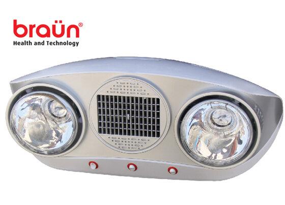 Đèn sưởi nhà tắm Braun 2 bóng vàng BU02G mùa đông thêm ấm