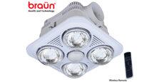 Đèn sưởi nhà tắm Braun 4 bóng âm trần điều khiển từ xa có tốt không ?