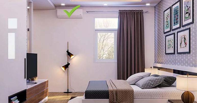 Vị trí lắp đặt điều hòa ở phòng ngủ tốt cho sức khỏa