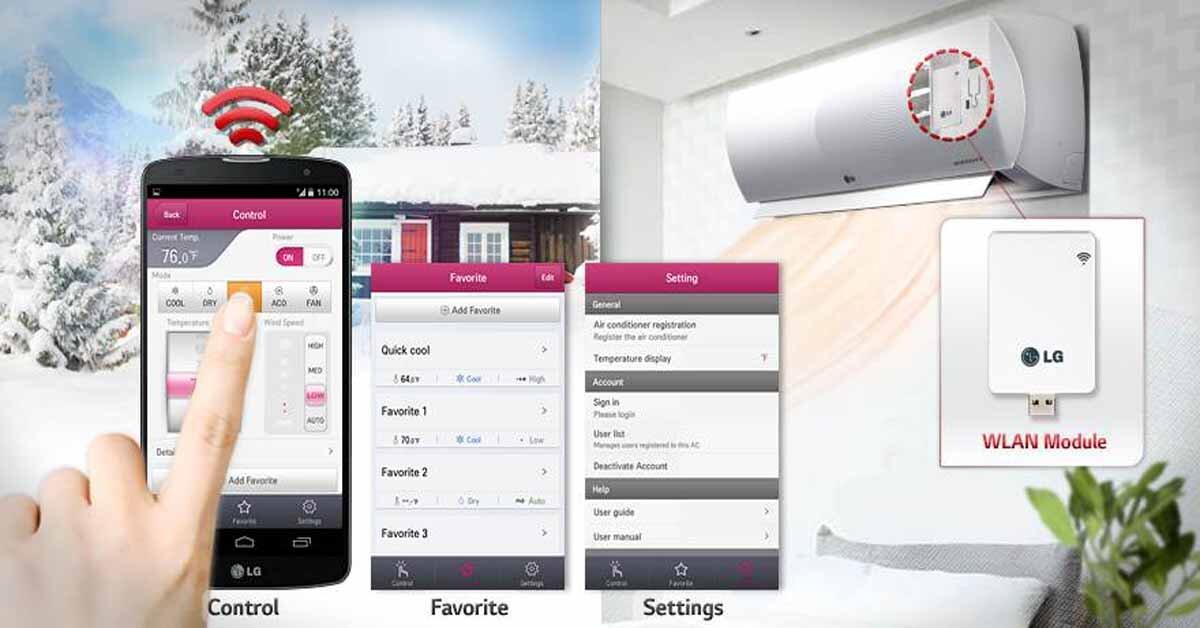 Điều hòa LG wifi có thể điều khiển bằng smartphone – điện thoại từ xa