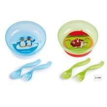Đồ dùng ăn dặm Canpol Babies 21/300 – Bát nhựa có dĩa và thìa xinh xắn và đáng yêu