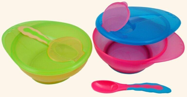 Đồ dùng ăn dặm Canpol Babies 56/299 – Bộ bát và thìa cho bé tập ăn dễ dàng hơn