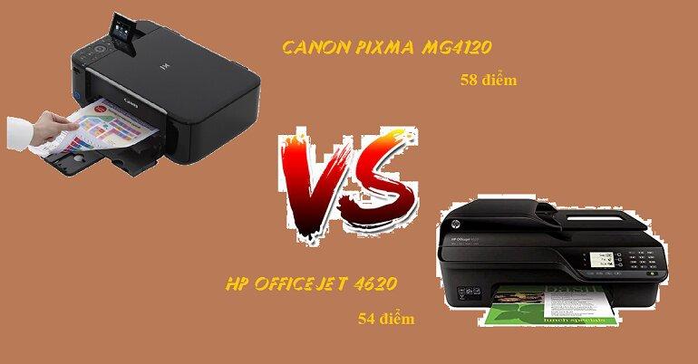 Điểm đánh giá máy in Canon Pixma MG4120 và HP Officejet 4620.  máy in