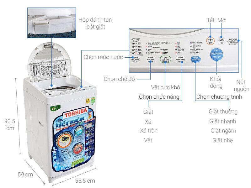 Máy giặt Toshiba loại 7kg có giá bán phải chăng và đi kèm nhiều ưu đãi (Nguồn: dienmaygiatot.com)