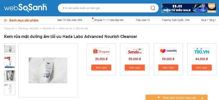 Sữa rửa mặt cho da khô Hada Labo 80g - Giá rẻ nhất: 35.000 vnđ