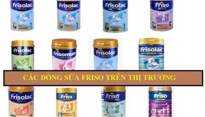 Các dòng sữa Friso trên thị trường
