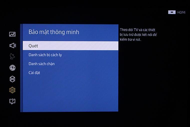 Quét virus trên Smart tivi Samsung