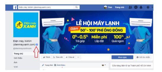 fanpage chính thức có dấu tích xanh facebook của điện máy xanh