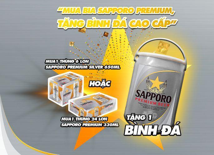 Mua bia Sapporo Premium, tặng Bình Đá Cao Cấp