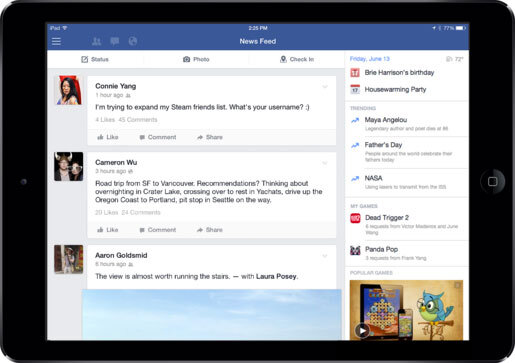 Facebook cho iPad được cập nhật, thêm tính năng chủ đề theo xu hướng