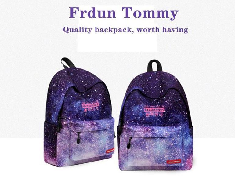 Frdun Tommy chữ ký 2019 Phong Cách BLACKPINK Mới Ba Lô Sọc In bầu trời Đầy Sao/loạt gradient túi đi học Thời Trang Ba Lô