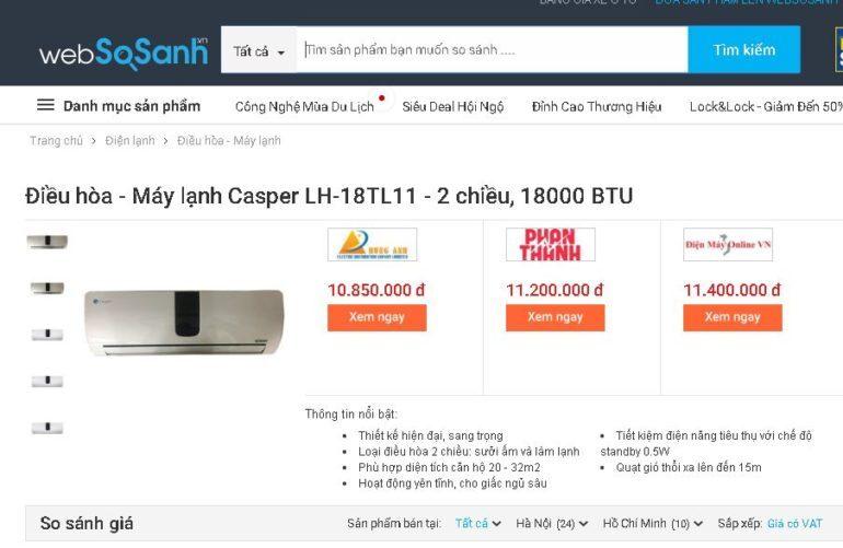 Điều hòa 2 chiều Casper LH-18TL11 18000 BTU - Giá rẻ nhất: 10.850.000 vnđ