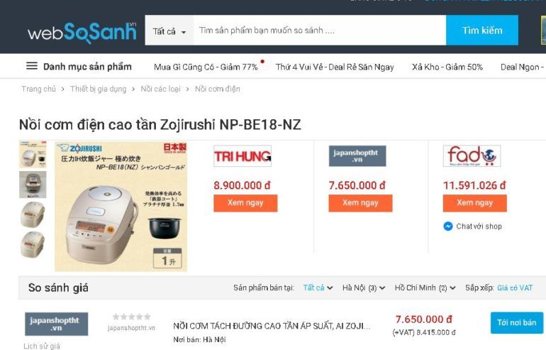 Giá nồi cơm điện tách đường Zojirushi NP-BE18-TD bao nhiêu tiền ?