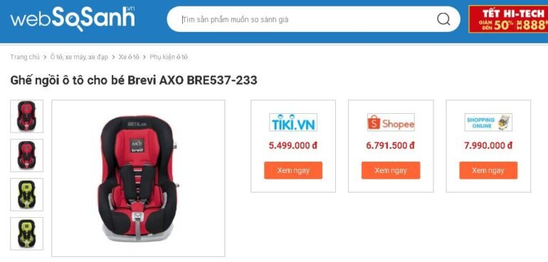 Ghế ngồi ô tô cho bé Brevi AXO BRE537-233 - Giá tham khảo: 5.499.000 vnđ