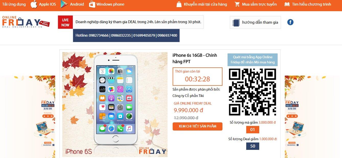 Giá iPhone 6S chỉ còn 9,990,000 đồng trong ngày Mua Sắm Trực Tuyến 2016