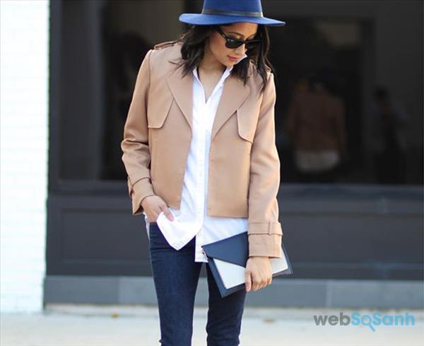 áo khoác nữ đẹp Trench coat dáng lửng hoặc ngắn