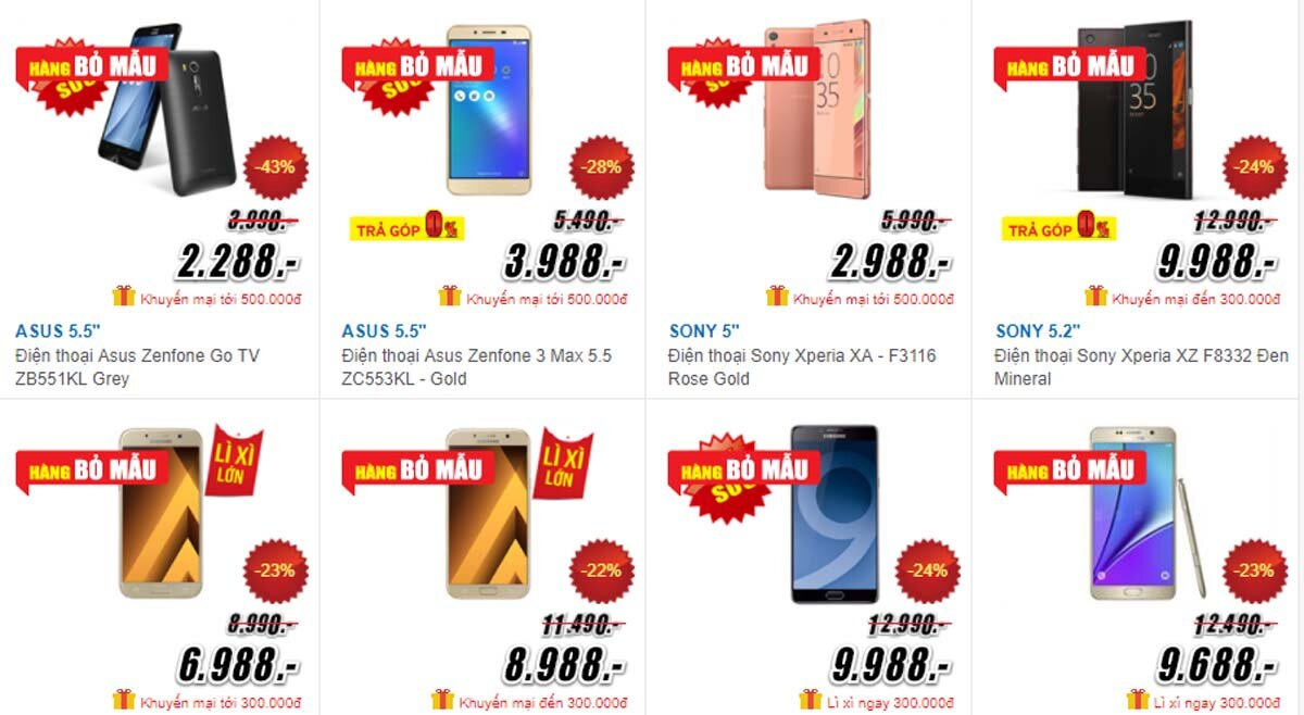 Hàng loạt siêu thị điện máy xả hàng trưng bày, tồn kho sau Tết 2018, giá rẻ chỉ 1/3 so với giá niêm yết
