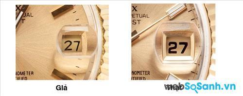 Số chỉ ngày trên mặt đồng hồ Rolex chính hãng khá lớn và rõ ràng