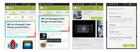 Cửa hàng Google Play trên Samsung Galaxy Young S6310.