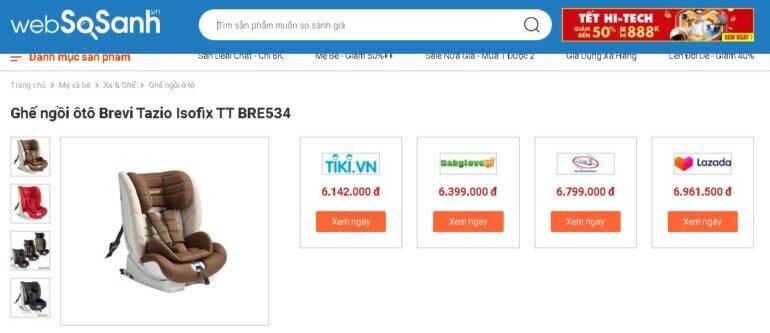 Giá ghế ngồi ô tô Brevi bao nhiêu tiền?