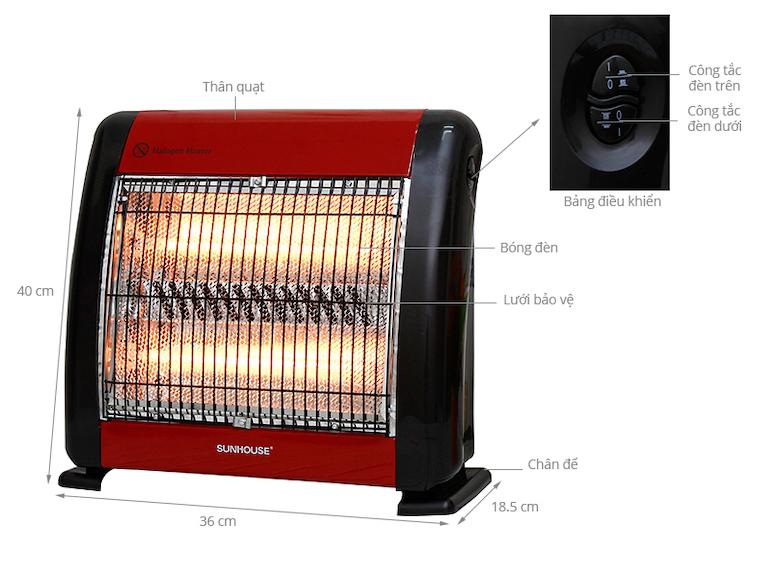 Đèn sưởi Sunhouse 2 bóng sưởi ấm cực tốt