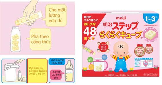 Hướng dẫn cách pha sữa Meiji dạng thanh cho trẻ sơ sinh
