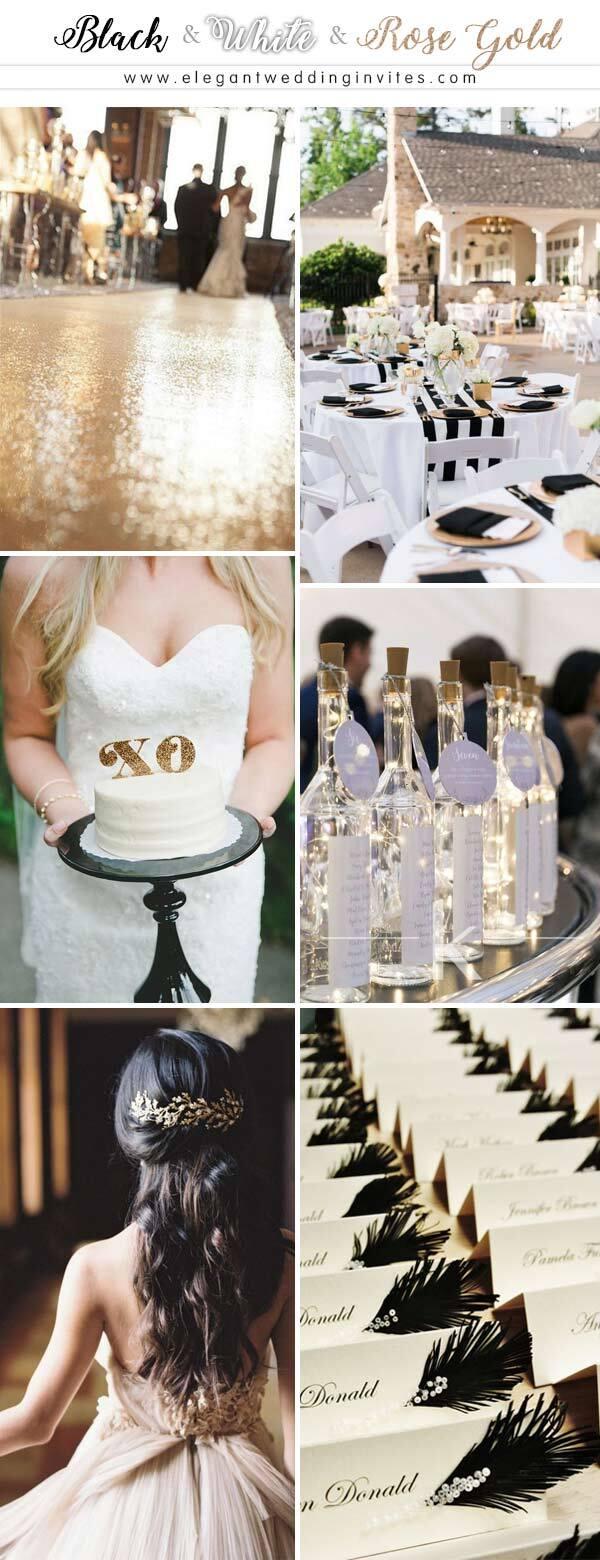 Một đám cưới cổ điển nhưng không kém phần độc đáo với 3 tone màu vàng hồng, đen và trắng