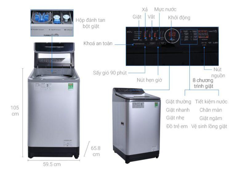Máy giặt nước nóngPanasonic 9kg NA-F90V5LMX