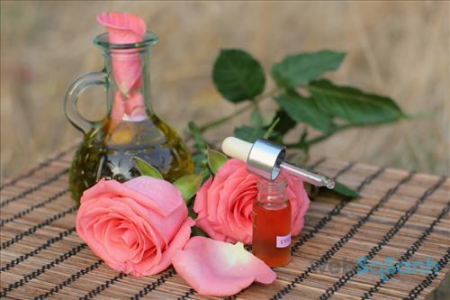Tinh dầu hoa hồng không những mang lại hương thơm quyến rũ mà còn có tác dụng làm đẹp da