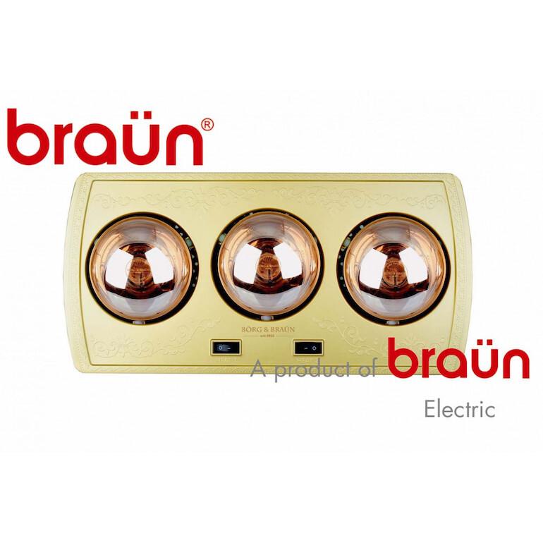 Đèn sưởi Braun 3 bóng tiết kiệm điện.