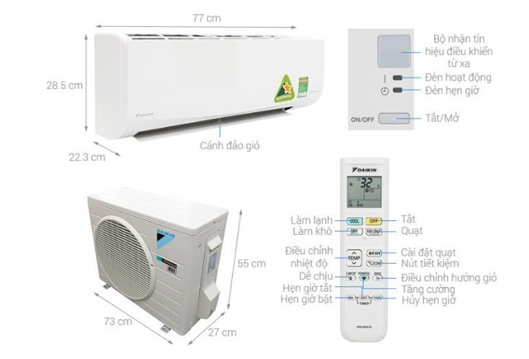 Điều hòa Daikin Inverter 1.5 HP FTKQ35SVMV - Giá rẻ nhất: 9800.000 vnđ
