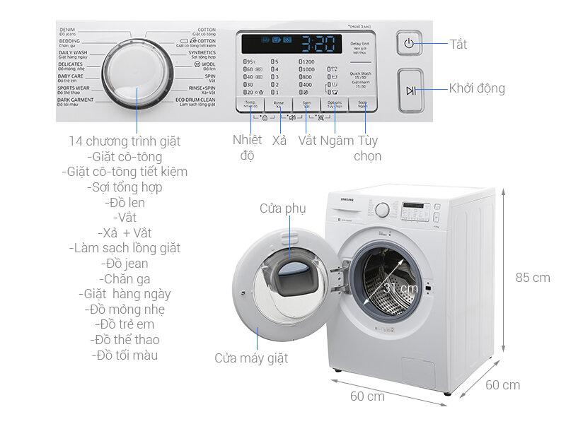 Sản phẩm được tích hợp nhiều chương trình giặt khác nhau