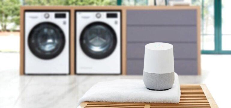 Dễ dàng nói chuyện với máy giặt công nghiệp LG AI DD có sấy 15kg F2515RTGW qua thiết bị hỗ trợ