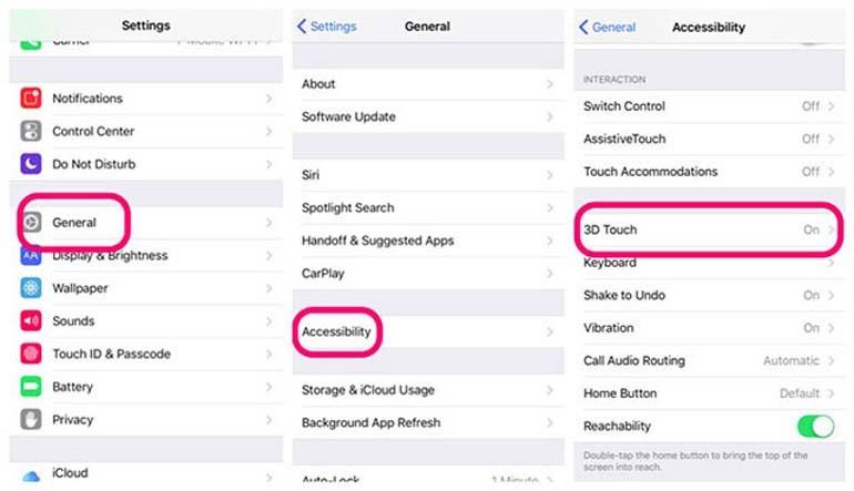 Cách sử dụng tính năng 3D Touch trên iPhone 6S, iPhone 7, iPhone 8, iPhone X