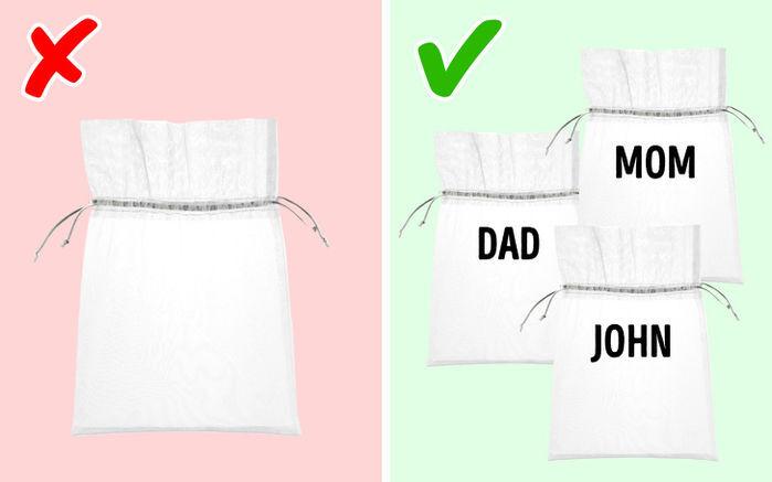 Sử dụng túi giặt để giặt tất (vớ)