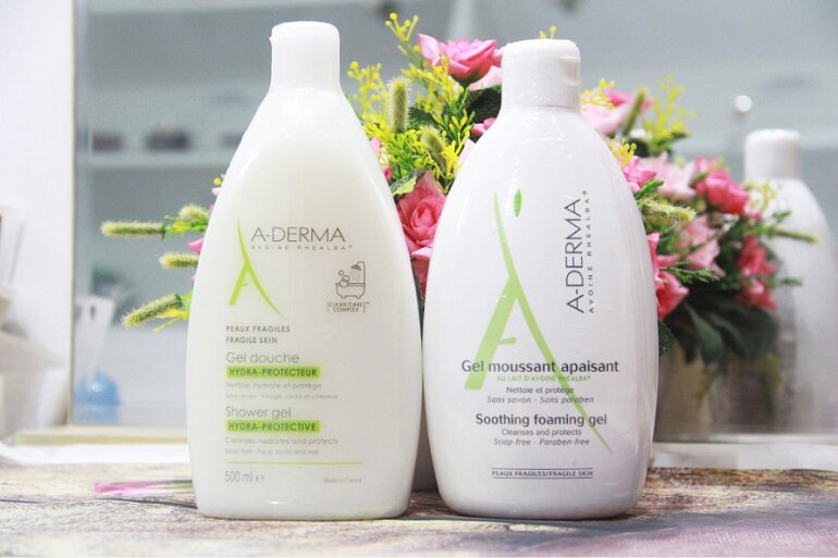 Thiết kế, bao bì sữa tắm Aderma trị mụn lưng Gel Douche Hydra Protecteur