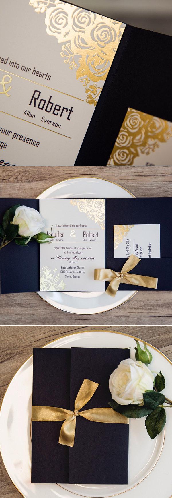 Thiệp cưới với những chi tiết phủ nhũ vàng trông rất sang trọng
