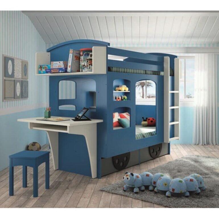 Giường tầng kèm bàn học cho bé trai