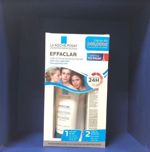 Gel rửa mặt tạo bọt làm sạch dành cho da dầu nhạy cảm Effaclar Gel 50ml và Kem dưỡng giảm mụn ngừa thâm và làm thông thoáng lỗ chân lông Effaclar Duo (+) 15ml