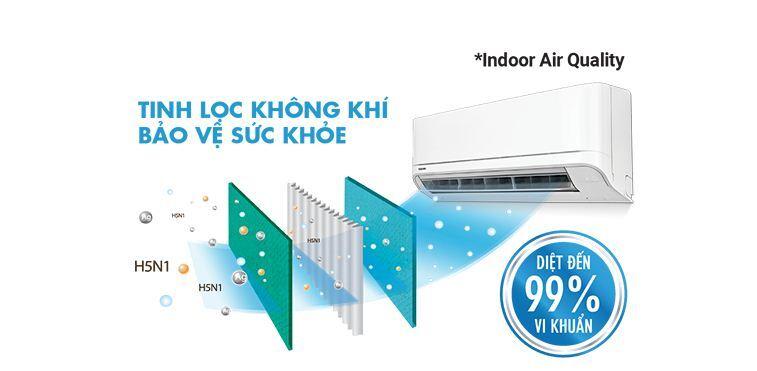 Công nghệ IAQ (Indoor Air Quality) - Làm sạch tiên tiến, diệt khuẩn tới 99%