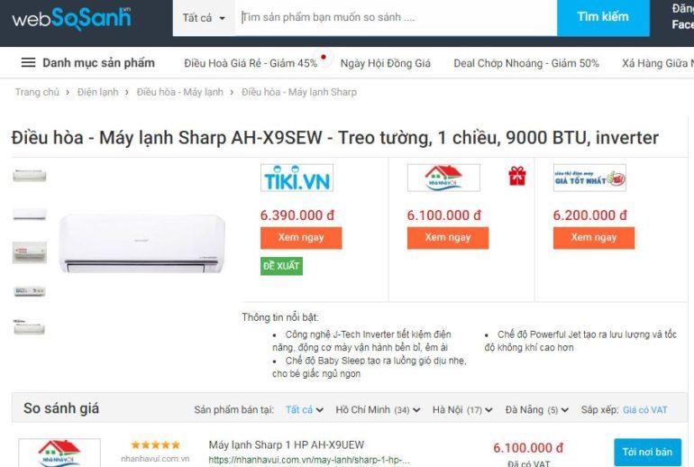 Giáđiều hòa máy lạnh Sharp AH-X9UEW rất rẻ so với chất lượng của nó đem lại