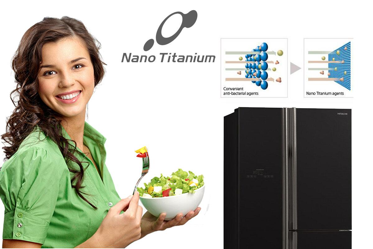 Tủ lạnh Hitachi có công nghệ kháng khẩn và khử mùi Nano Titanium