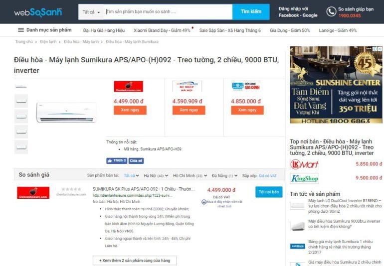Giá điều hòa Sumikura bao nhiêu tiền ?