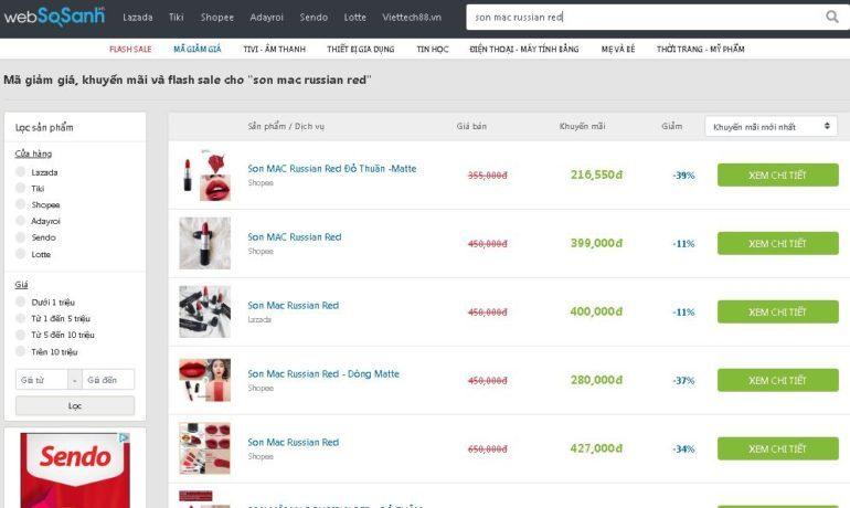 Son Mac Russian Red sale 39% giá chỉ còn 216.550 vnđ
