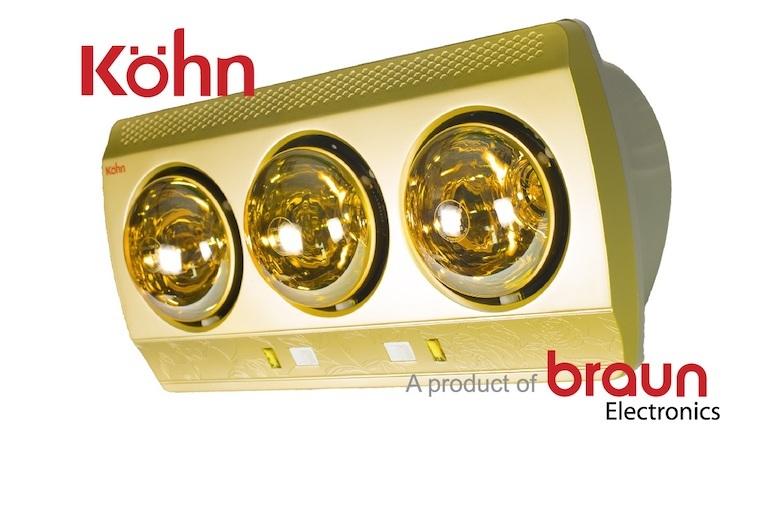 Đèn sưởi Braun 3 bóng sưởi ấm cực tốt.