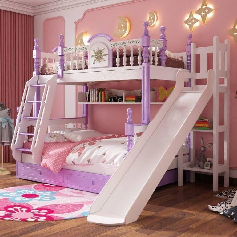 Giường tầng màu hồng tím dễ thương cho bé